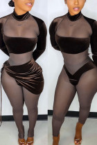 Coffee Sexy Solid Bandage Split Joint See-through Fold Asymmetrical Long Sleeve Two Pieces
