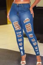 Dark Blue Street Solid Ripped Make Old Split Joint High Waist Denim Jeans
