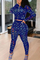 Blue Casual Print Split Joint Zipper Hooded Collar Long Sleeve Two Pieces