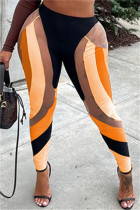 Orange Fashion Casual Print Split Joint Skinny High Waist Pencil Trousers