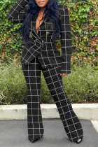 Black Casual Plaid Split Joint Turndown Collar Long Sleeve Two Pieces