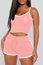 Pink Sexy Sportswear Solid Vests Spaghetti Strap Sleeveless Two Pieces