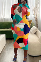 Colour Fashion Sexy Print Hollowed Out V Neck Long Sleeve Dresses