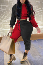 Black Fashion Casual Solid Split Joint Hooded Collar Long Sleeve Two Pieces