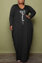Black Fashion Casual Print Basic V Neck Long Sleeve Plus Size Dresses