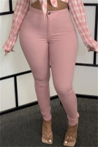 Pink Fashion Casual Solid Basic Skinny High Waist Pencil Trousers