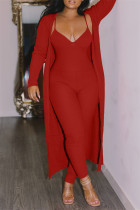 Red Fashion Casual Solid Cardigan V Neck Long Sleeve Two Pieces
