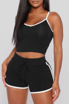 Black Sexy Sportswear Solid Vests Spaghetti Strap Sleeveless Two Pieces