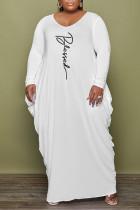 White Fashion Casual Print Basic V Neck Long Sleeve Plus Size Dresses
