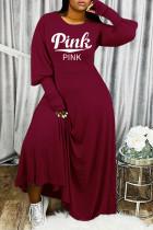 Burgundy Fashion Casual Letter Print Basic O Neck Long Sleeve Dresses