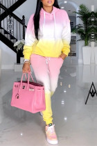 Pink Yellow Fashion Casual Gradual Change Print Basic Hooded Collar Two Pieces