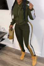 Army Green Casual Patchwork Zipper Hooded Collar Long Sleeve Two Pieces