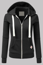 Black Fashion Casual Solid Split Joint Zipper Hooded Collar Outerwear