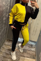 Yellow Casual Solid Split Joint Zipper Zipper Collar Long Sleeve Two Pieces