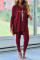 Burgundy Fashion Casual Print Slit V Neck Long Sleeve Two Pieces