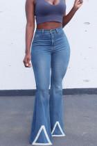 Blue Fashion Casual Solid Split Joint High Waist Boot Cut Denim Jeans