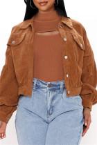 Camel Fashion Casual Solid Cardigan Turndown Collar Outerwear