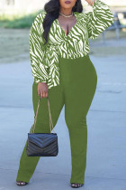 Green Fashion Casual Print Bandage V Neck Plus Size Two Pieces