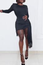 Black Fashion Casual Solid Tassel O Neck Long Sleeve Dresses