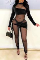 Black Fashion Sexy Patchwork See-through Asymmetrical Half A Turtleneck Skinny Jumpsuits