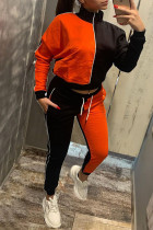 Orange Red Casual Solid Split Joint Zipper Zipper Collar Long Sleeve Two Pieces