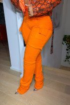 Orange Fashion Casual Solid Split Joint Regular High Waist Conventional Solid Color Bottoms