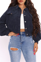 Deep Blue Fashion Casual Solid Cardigan Turndown Collar Outerwear