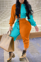 Orange Fashion Casual Solid Split Joint Hooded Collar Long Sleeve Two Pieces