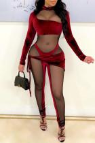 Burgundy Fashion Sexy Patchwork See-through Asymmetrical Half A Turtleneck Skinny Jumpsuits