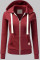 Burgundy Fashion Casual Solid Split Joint Zipper Hooded Collar Outerwear