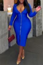 Blue Fashion Casual Solid Zipper V Neck Long Sleeve Plus Size Dresses