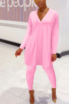 Pink Polyester Fashion Casual adult Ma'am Solid Two Piece Suits pencil Long Sleeve Two Pieces