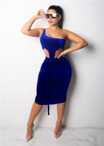 Blue Fashion Sexy Off The Shoulder Sleeveless Asymmetrical Collar Asymmetrical Knee-Length Club Dresses