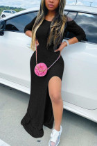 Black Fashion adult Ma'am OL Off The Shoulder Long Sleeves One word collar Step Skirt Floor-Length Solid Dresses