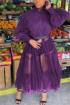 purple Casual Patchwork Solid Mesh Without Belt Mandarin Collar Irregular Dress Plus Size Dresses