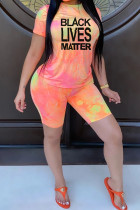 Pink Polyester Fashion Casual adult Ma'am Print Gradient Two Piece Suits pencil Short Sleeve Two Pieces
