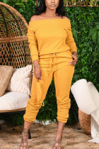 Yellow Fashion Casual Adult Solid Split Joint Bateau Neck Long Sleeve Off The Shoulder Regular Two Pieces