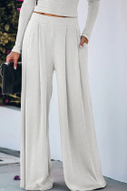 White Red Black Grey Pink Polyester Elastic Fly Mid Solid Loose Pants Bottoms