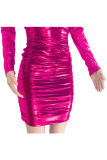Silver adult Sexy Fashion Cap Sleeve Long Sleeves V Neck Step Skirt Mini Draped chain Fluorescent