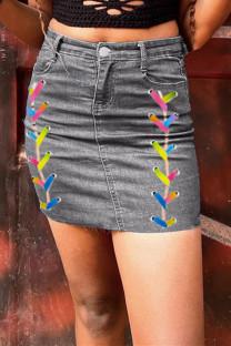 Grey Fashion Casual Solid Wheeled High Waist Regular Denim Skirts