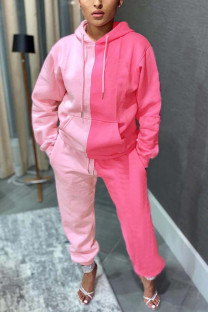 Pink Sexy Solid Split Joint Hooded Collar Long Sleeve Two Pieces