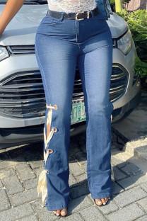 Blue Fashion Casual Solid Strap Design High Waist Regular Jeans