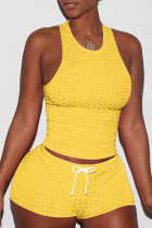 Yellow Sexy Sportswear Solid Split Joint Spaghetti Strap Sleeveless Two Pieces
