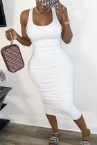 White Sexy Europe and America Sleeveless O neck Slim Dress skirt bandage Solid Draped Dresses