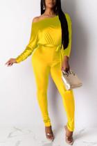 Yellow Fashion Print Bateau Neck Jumpsuits