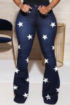 Dark Blue Casual Sweet Print The stars Buttons Pants High Waist Boot Cut Denim