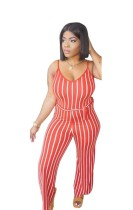 Red Polyester Milk Silk Hollow Out Sashes Backless Striped sexy Jumpsuits & Rompers