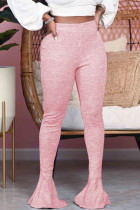Pink Fashion Street Adult Polyester Solid Flounce Boot Cut Bottoms