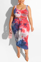 Red and blue Polyester Sexy Slip Print Belt Tie Dye Plus Size