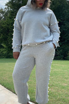 Grey Casual Polyester Print Pearl O Neck Long Sleeve Regular Sleeve Regular Two Pieces